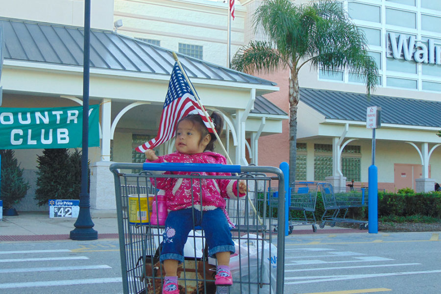 Little girl waiving the American Flag | The Joy of Giving supports families in need in Collier County